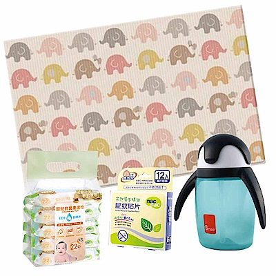 韓國Parklon 帕龍遊戲地墊 (大象)+企鵝學習水杯防蚊(共2色)