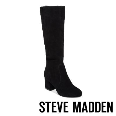STEVE MADDEN-HANNA 麂皮粗跟後拉鍊長筒靴-黑色