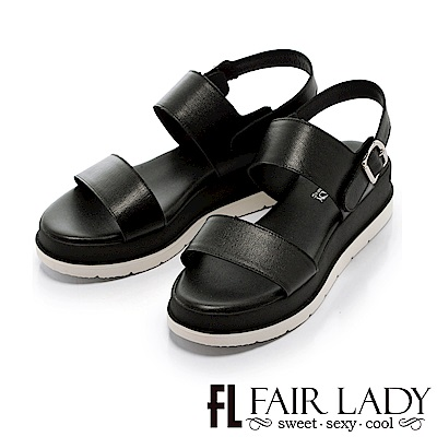 Fair Lady 運動風簡約一字厚底涼鞋 白
