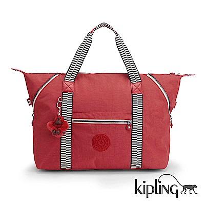 Kipling 手提包 焰紅拼接-中