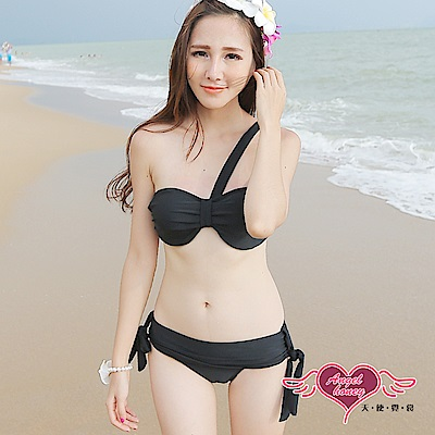 泳衣 簡約甜美 鋼圈二件式比基尼泳裝(黑L) AngelHoney天使霓裳