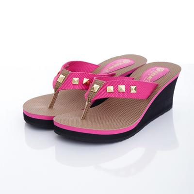 WAVE 3 【女】台灣製鉚釘布織帶厚底人字夾腳拖鞋~桃紅