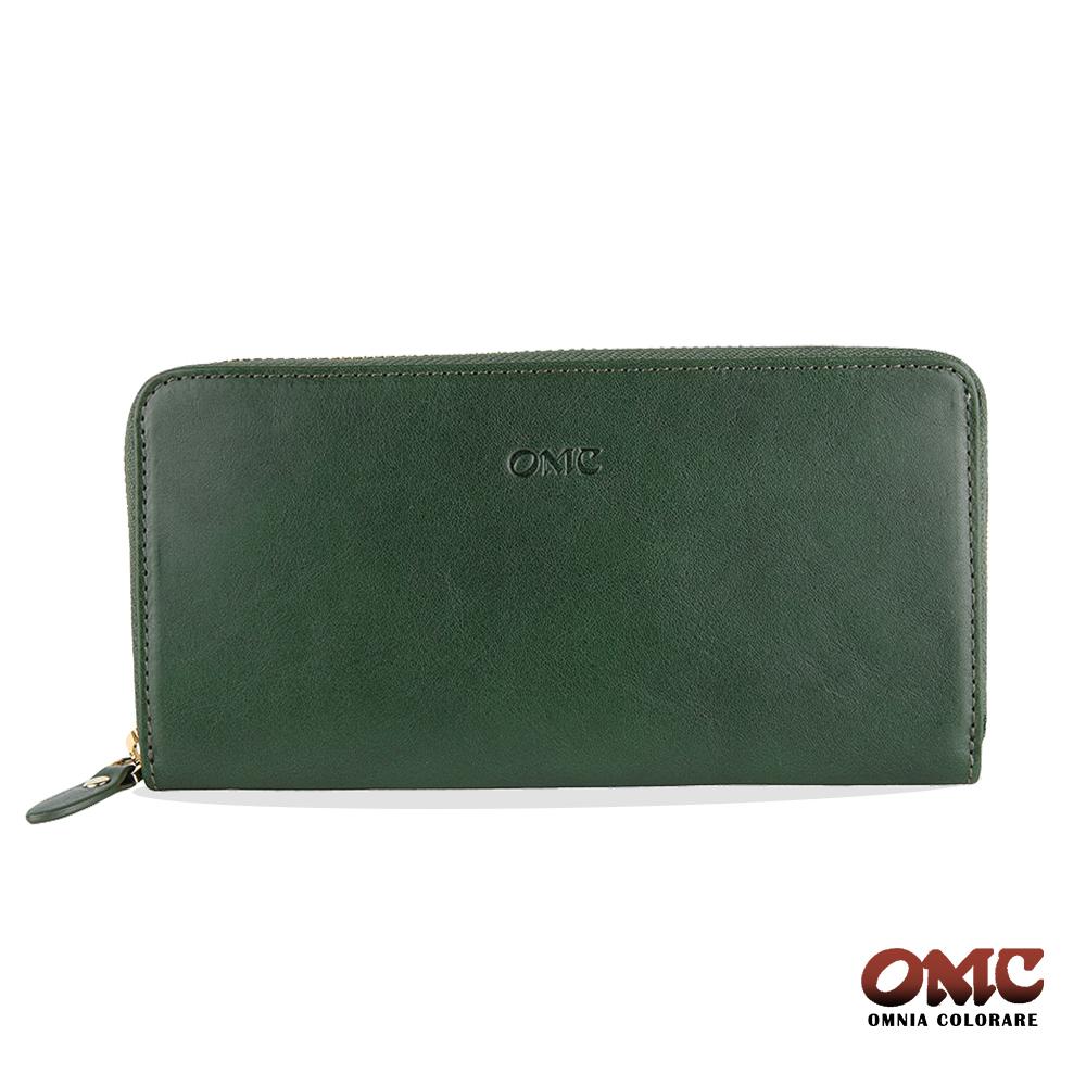 OMC 原皮系列-植鞣牛皮單拉鏈12卡透明窗雙隔層零錢長夾-綠色