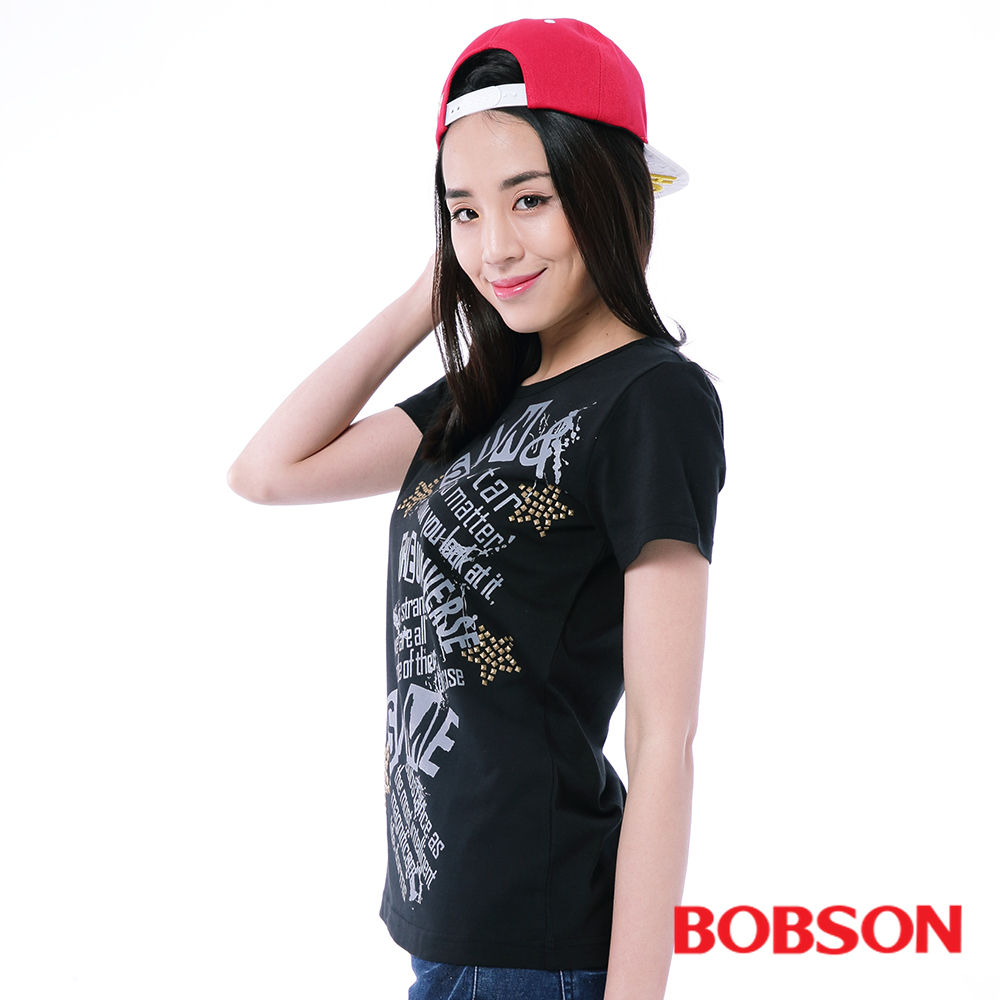 BOBSON  女款鋁片印圖上衣