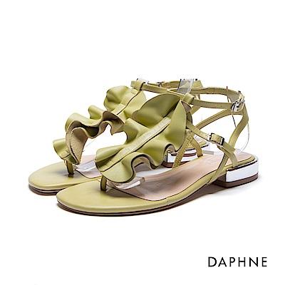 達芙妮DAPHNE 涼鞋-荷葉波浪T字夾腳平底涼鞋-綠