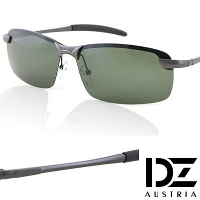 【2件59折】DZ 型潮格調 抗UV 偏光太陽眼鏡墨鏡(槍框綠片)