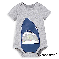 Little moni 鯊魚印圖短袖包屁衣 (2色可選)