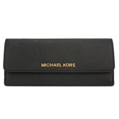 MICHAEL KORS 經典LOGO防刮皮革薄型壓釦長夾-黑