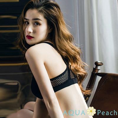 運動內衣 X型美背寬帶後網孔內衣 (黑色)-AQUA Peach