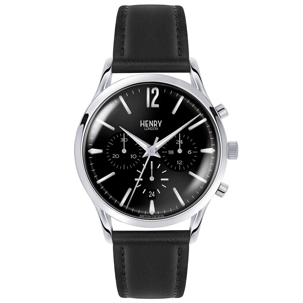 Henry London 英倫時尚真皮計時手錶-黑/41mm