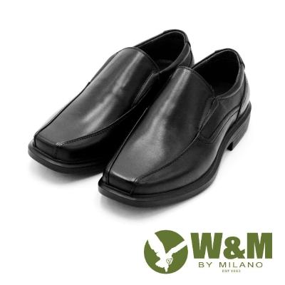 W&M直套式方頭男皮鞋 男鞋-黑