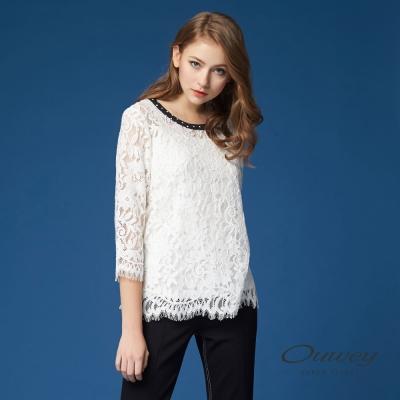【OUWEY 歐薇】優雅縷空蕾絲兩件式上衣(白)