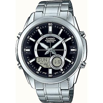 CASIO 卡西歐10年電力 世界時間雙顯手錶-黑x銀(AMW-810D-1AVDF)