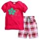 歐美風格設計 小童中童女童短棉T居家外出褲裝組 花朵 亮紅色 product thumbnail 1