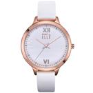 ELLE 優雅晶鑽簡約時尚手錶-白X玫瑰金框/38mm
