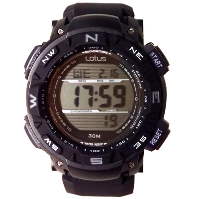 Lotus 探索自然 大徑面鬧鈴計時休閒錶(TP1326M-01)-黑46mm