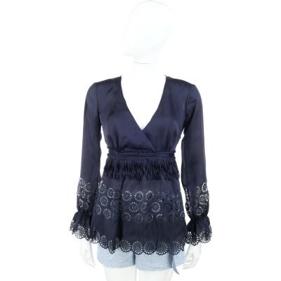 SCERVINO 藍色交叉領光澤感燒花蕾絲上衣
