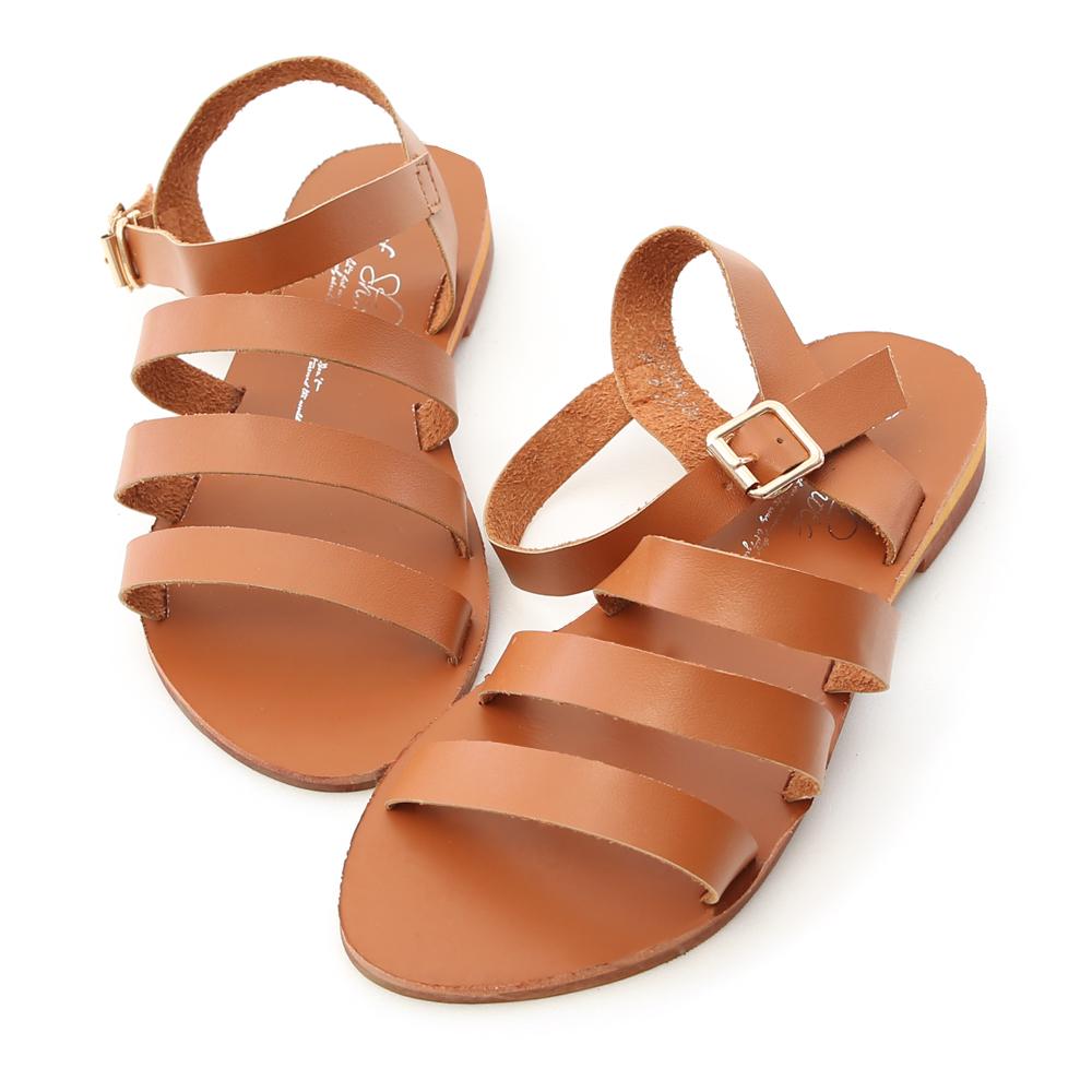 D+AF 自信百搭.簡約三條帶平底涼鞋*棕