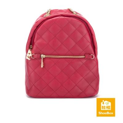 鞋櫃ShoeBox-女包-後背包-菱格拉鍊金屬手提鍊後背包-紅