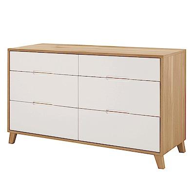 品家居 喬伊亞4尺木紋雙色六斗櫃-121x45x75cm免組