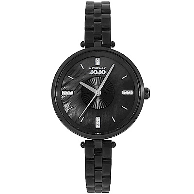 NATURALLY JOJO 耀眼晶鑽時尚手錶-珍珠貝X黑/34mm
