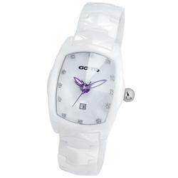 GOTO 簡約晶鑽陶瓷腕錶-白x紫/34mm