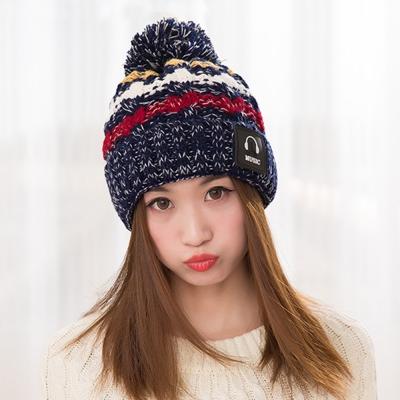 幸福揚邑 MUSIC潮流雙層保暖護耳小顏拚色毛球針織毛線帽-藏藍