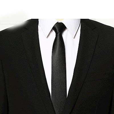 拉福  領帶中窄版領帶6cm領帶手打領帶(黑細斜)
