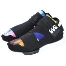 Y-3 QASA HIGH 渲彩拼接綁帶球鞋(黑色)