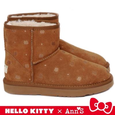 HELLO KITTY X Ann'S KT躲貓貓真皮雪靴禮盒 棕