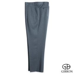 GIBBON 大尺碼素面透氣打摺西裝褲‧灰色