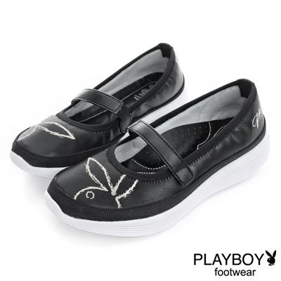 PLAYBOY 漫步雲端 休閒瑪麗珍娃娃鞋-黑(女)