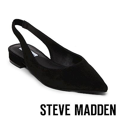 STEVE MADDEN-ENVI 麂皮尖頭低跟涼鞋-黑色