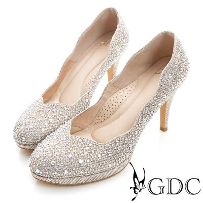 GDC幸福-色彩水鑽側波浪造型真皮中跟鞋(婚鞋)-香檳色