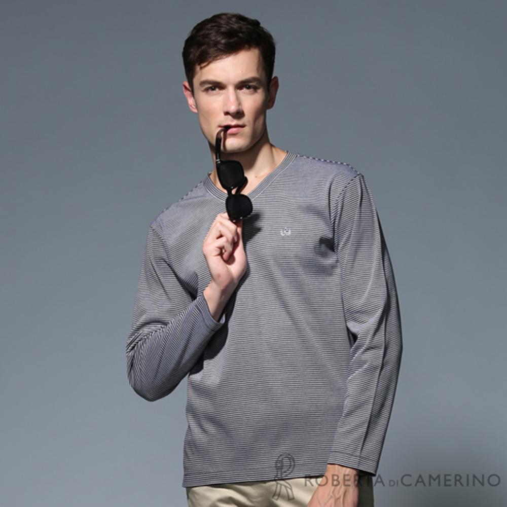 ROBERTA諾貝達 純棉 台灣製 V領條紋長袖POLO棉衫HBS06-99黑色