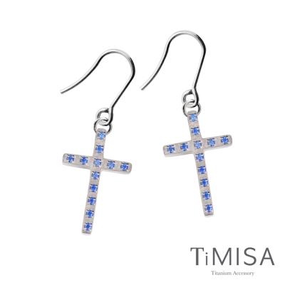 TiMISA《彩鑽十字(M)》純鈦耳環一對(三色可選)