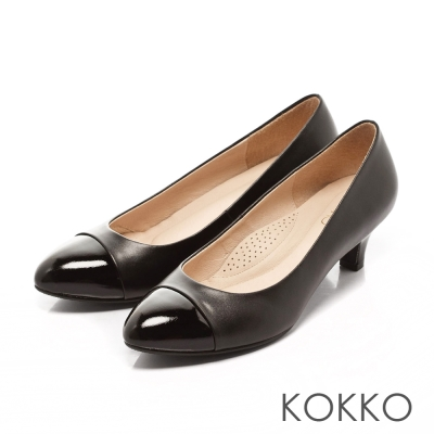 KOKKO-異材質拼接質感跟鞋-黑
