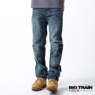 BIG TRAIN 單邊津波直筒褲-淺藍