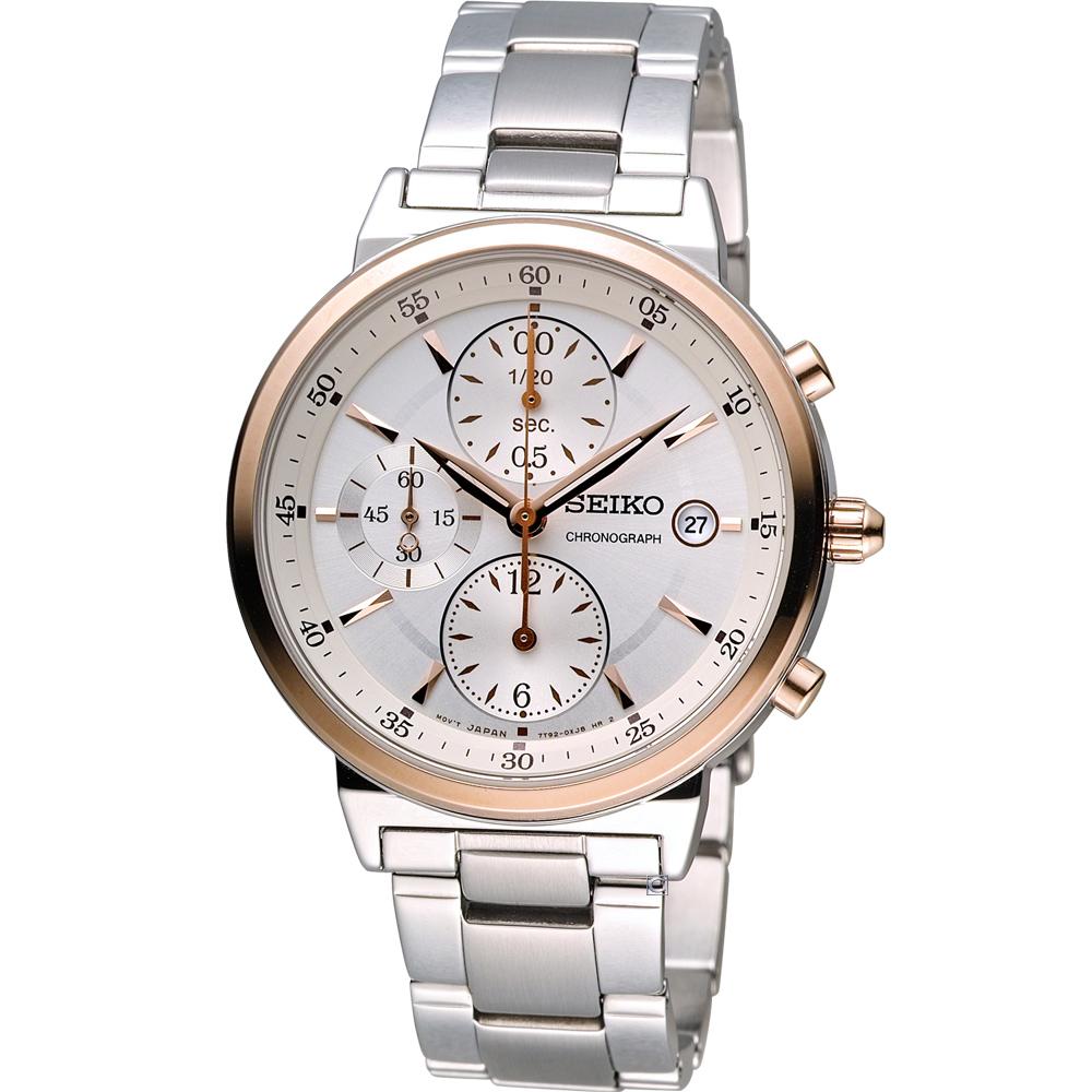 SEIKO 時尚混搭 計時腕錶(7T92-0RS0K)雙色/37mm