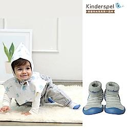 Kinderspel 輕柔細緻.套腳腳襪型學步鞋(條紋餅乾灰)