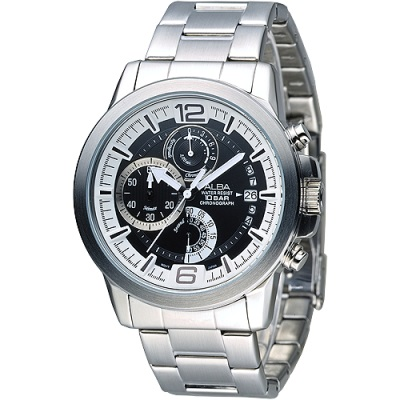 ALBA 特種精英逆跳計時男錶(AS6035X1)-白+黑/42mm