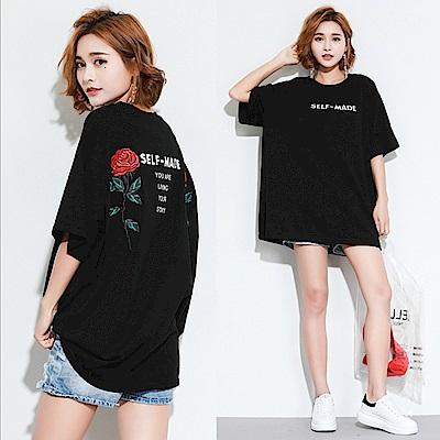 原宿暗黑風玫瑰刺繡寬版T恤-F-Keer