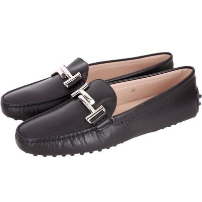 TOD'S Gommino Driving 雙T金屬設計豆豆休閒鞋(女鞋/黑色)