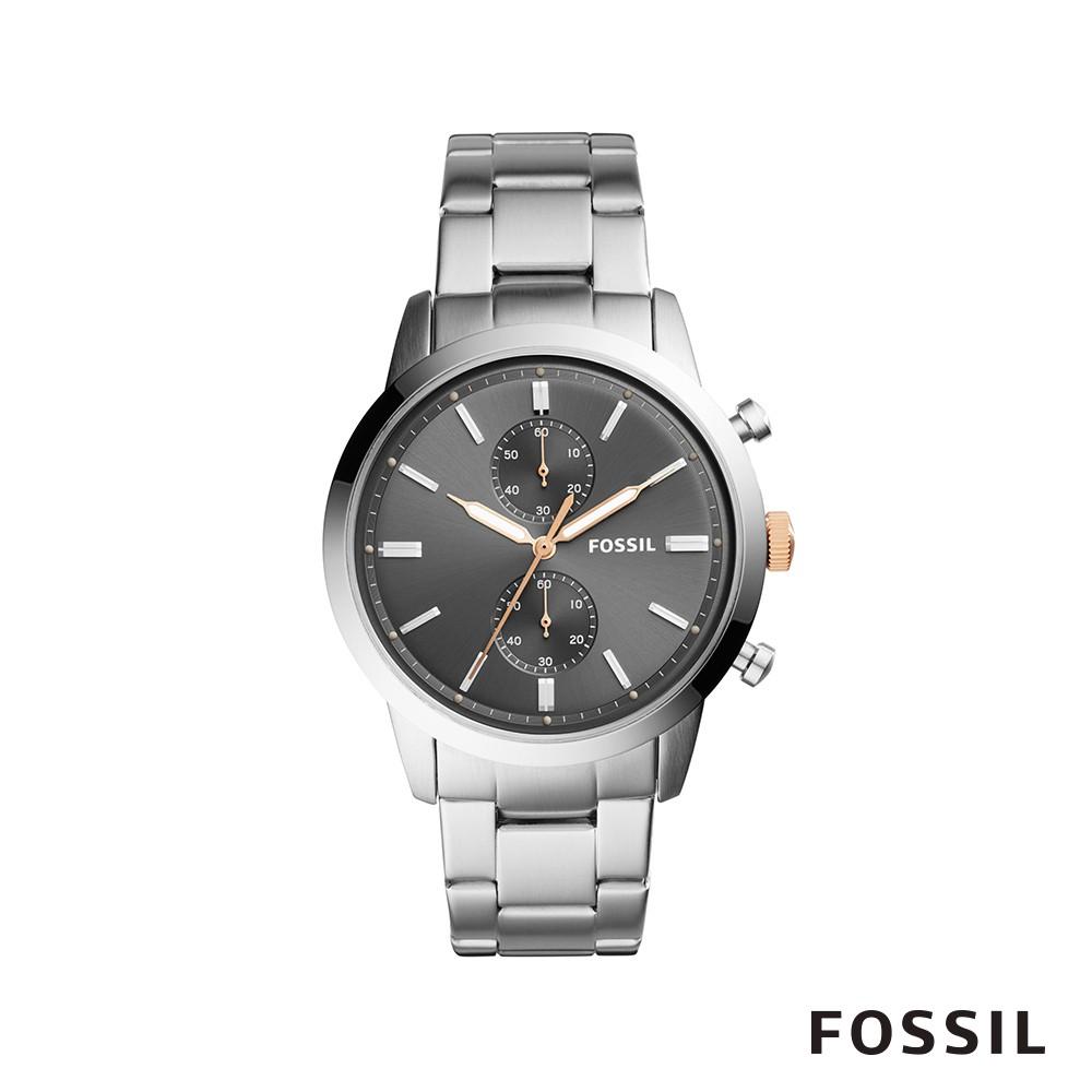 FOSSIL 44MM TOWNS 都會粗曠雙眼計時男錶-工業灰