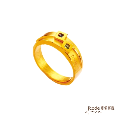 J'code真愛密碼 愛在一起黃金/水晶男戒指