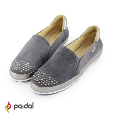 Paidal簡約時尚圓鑽休閒樂福懶人鞋-時髦灰