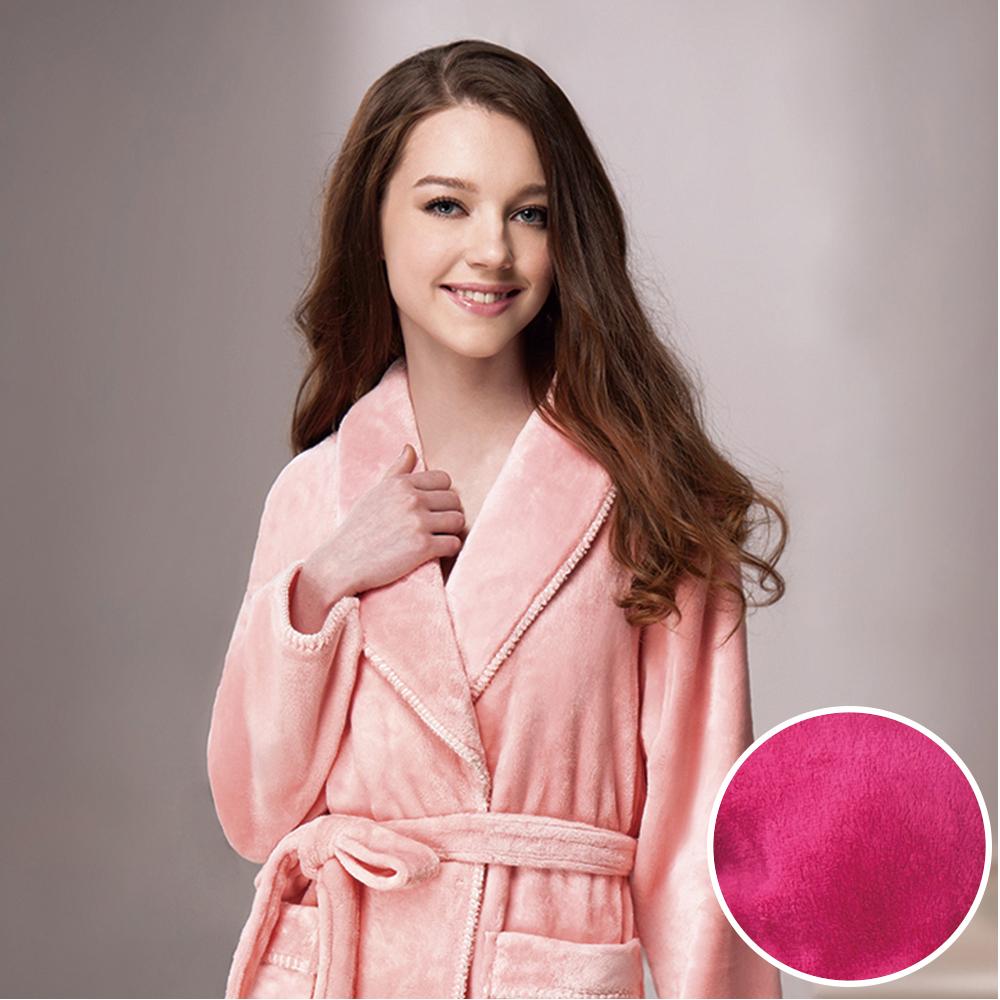 羅絲美睡衣 - 素雅風情保暖厚纖維睡袍 (素雅桃紅)