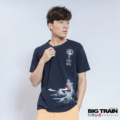 BIG TRAIN 富士海浪圓領TEE-男-深藍