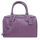 COACH 馬車素面皮革手提/斜背波士頓包(薰衣紫)