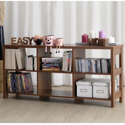 EASY HOME 二層六格隔間展示收納櫃-胡桃(120x29.6x56.1cm)-DIY